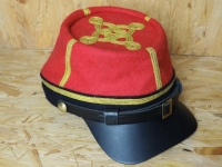 CS Kepi rot /blaues Band für Major bis Colonel mit Lederschirm